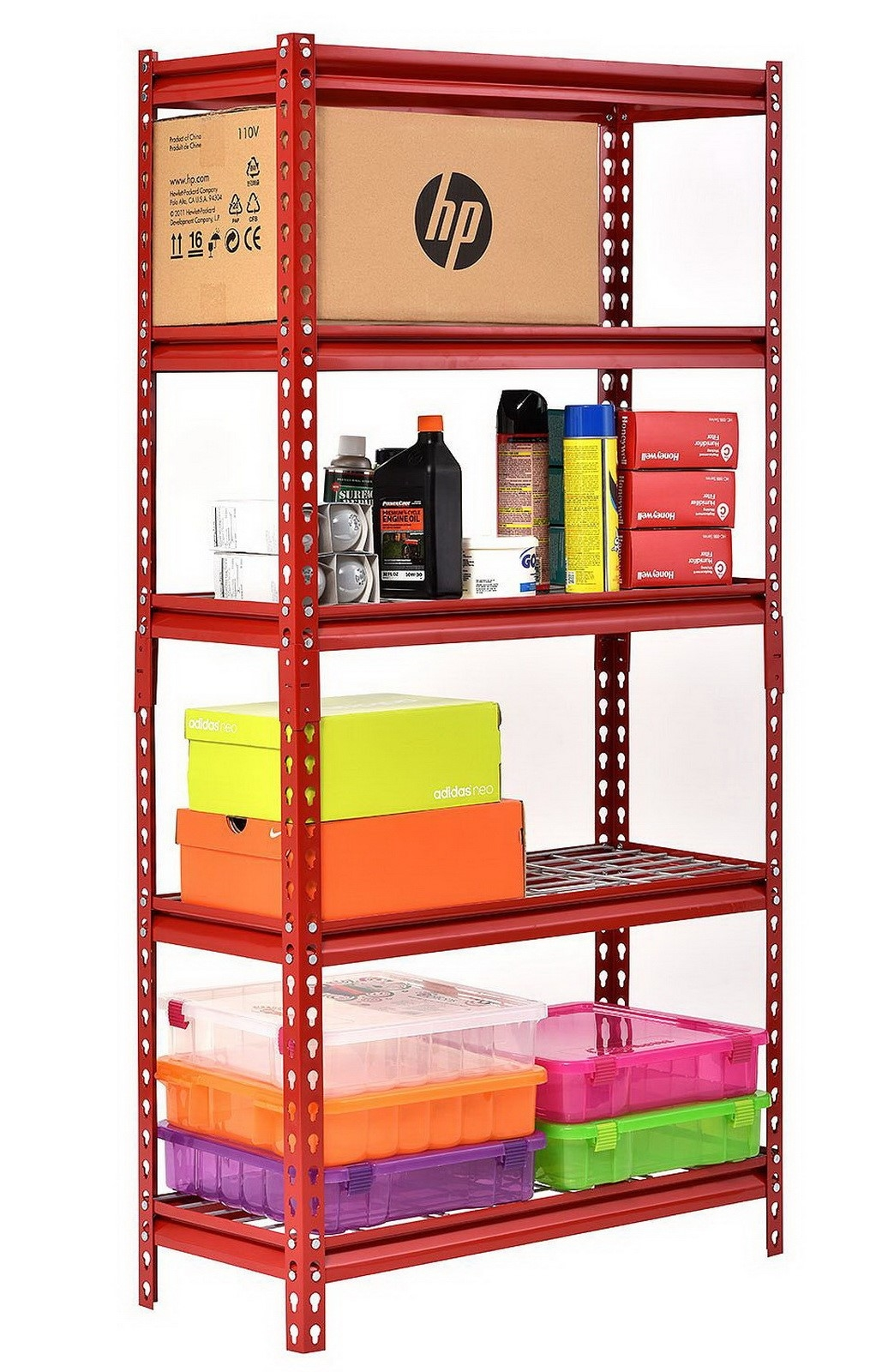 brand new in factory sealed retail box garage storage shelving muscle rack 5 shelf steel shelving unit 30 width x 60 height x 12 depth red sturdy