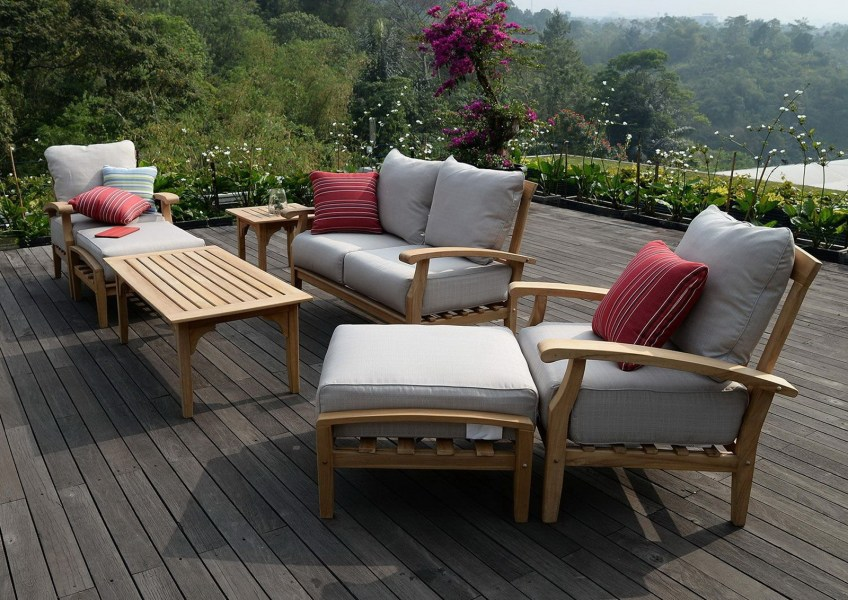 7 Piece Teak Wood Outdoor Patio Seating Set Free