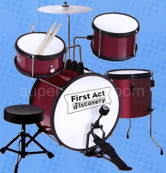 Kids First Act Red Drum Set Toy Musical Instrument   Adjustable     Alternative Views