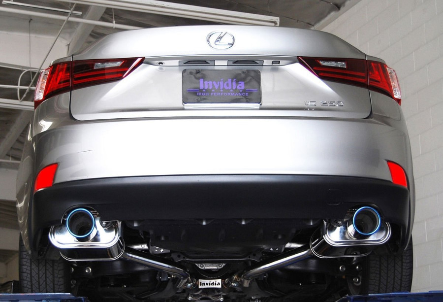 invidia q300 axle back exhaust system with rolled titanium burnt tips for is250 350