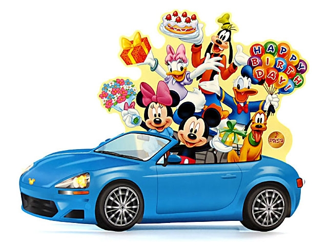 Disney Pop Up Blue Car With Flashing Lights Blinks To