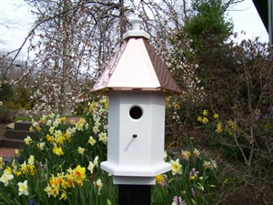 Post Mount Cottage Bird House With Copper Roof