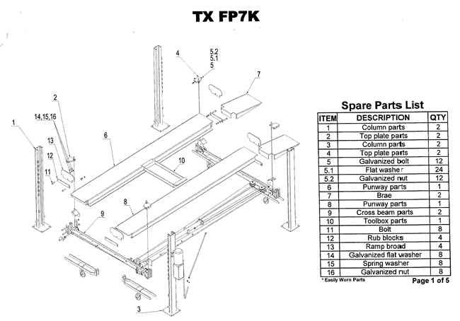 FP7K Parts Breakdown | Replacement Parts for 4 Post Lift