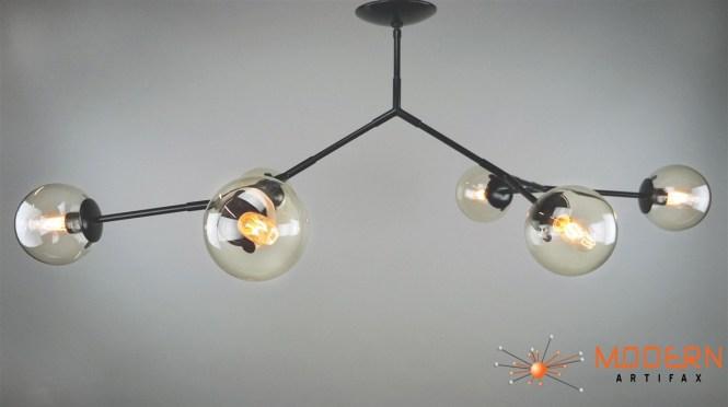 Branching Bubble Flat Black Finish Fixture Light Smoke Glass Globes