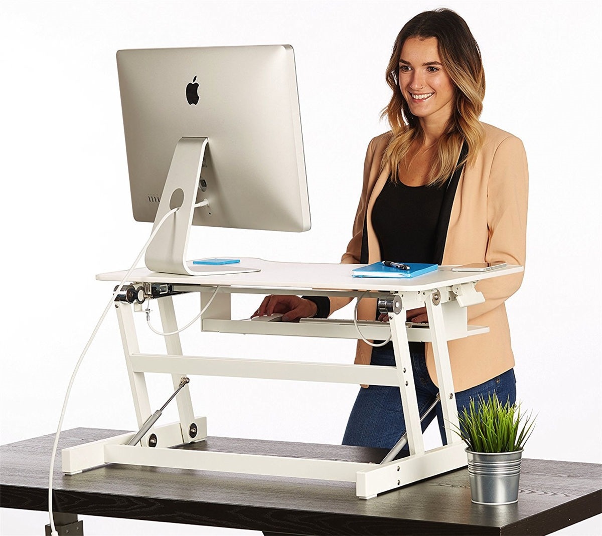 White Standing Desk The Deskriser Height Adjustable Heavy Duty Sit To Stand Office Desk Supports Up To 50 Lbs 32 Wide Sit Stand Up Desk Converter