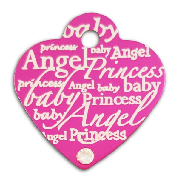 Dog Cat ID Collar Tags Pink Heart With Clear Crystal