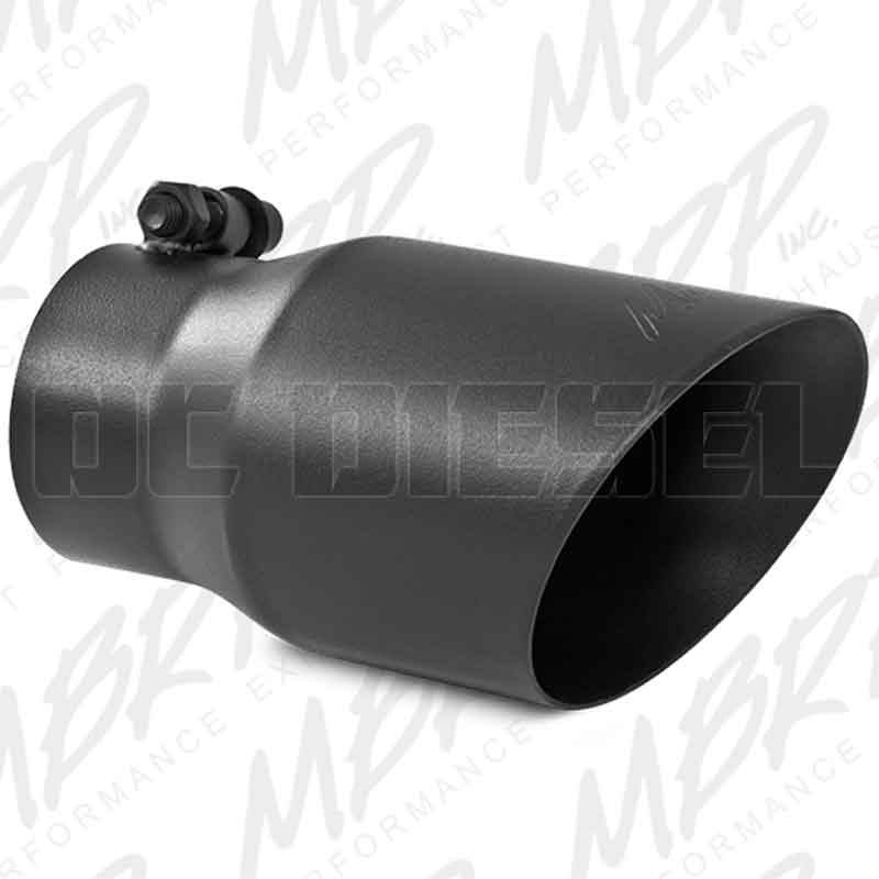 mbrp t5122blk 4 dual wall angle cut black coated stainless t409 exhaust tip