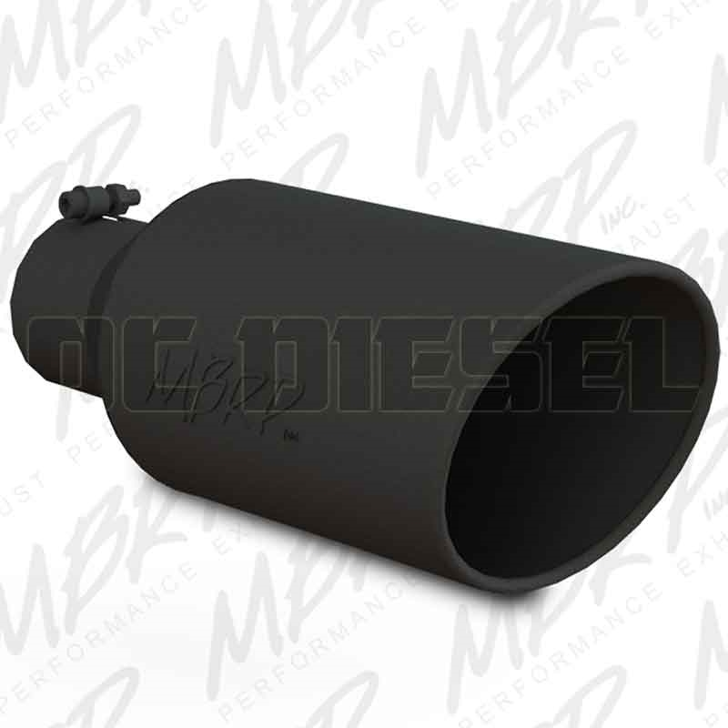 mbrp t5126blk 7 rolled edge angle cut black coated sainless t409 exhaust tip