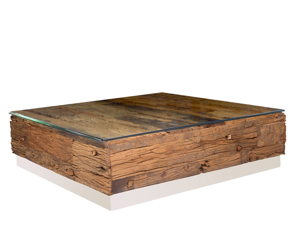 amalfi reclaimed railway wood square modern coffee table