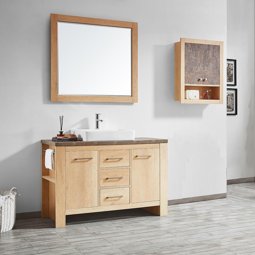 vinnova alpine 48 inch single vanity in glacier canyon oak with white drop in porcelain vessel sink with mirror