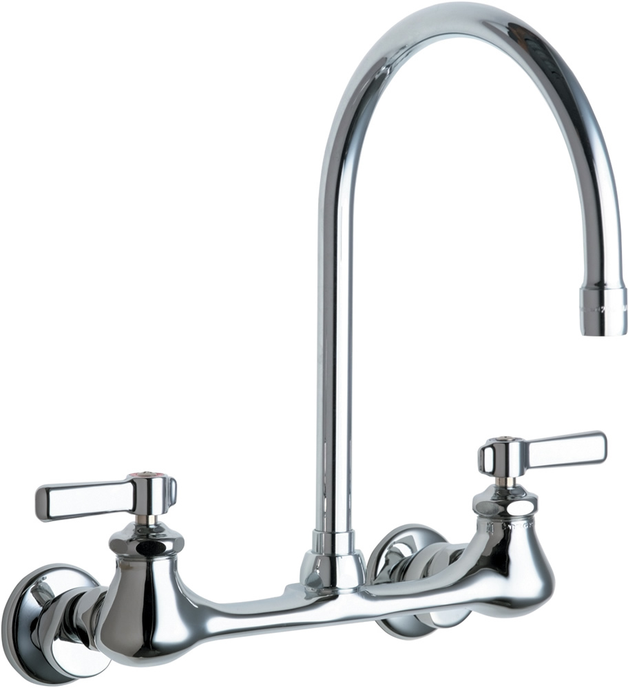 chicago faucets 540 ldgn8ae3abcp wall mount faucet with 8 gooseneck spout