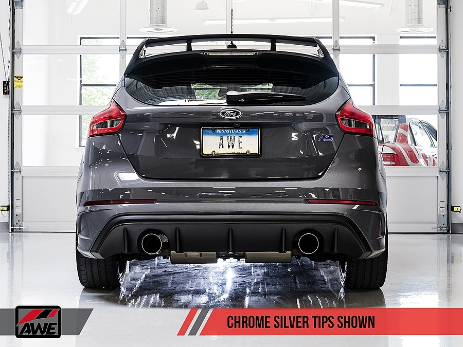 awe tuning 2016 2017 mk3 ford focus rs switchpath exhaust chrome silver tips