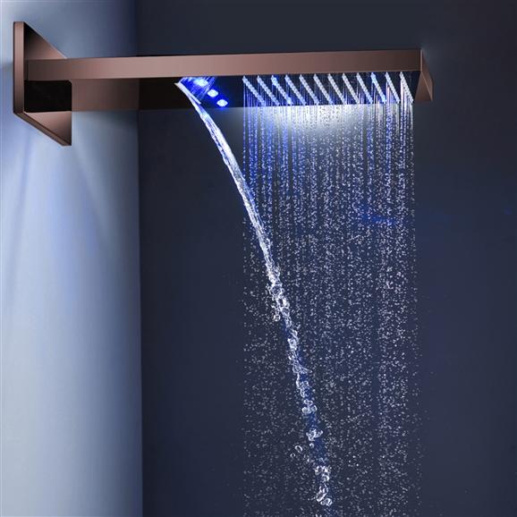 bathselect led light oil rubbed bronze waterfall rainfall shower head