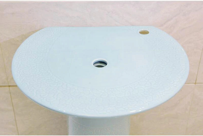 chatou light blue ceramic bathroom sink with separate counter and pedestal