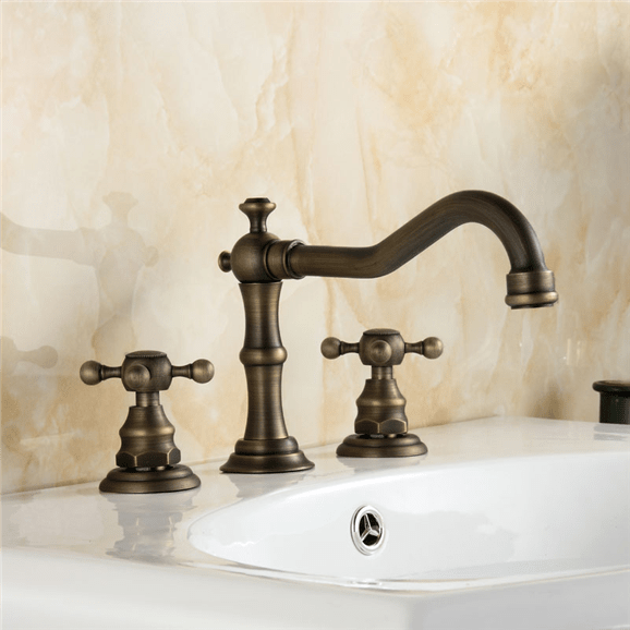 bathselect crimea antique brass dual handled bathroom sink faucet