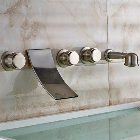 wall mount brushed nickel bathtub faucet mixer with hand shower