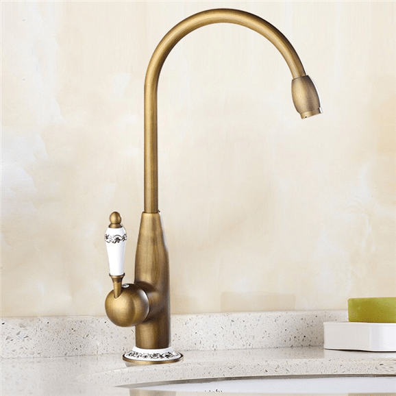 giorgia antique brass ceramic hot and cold brass kitchen sink faucet deck mounted single handle kitchen mixer tap