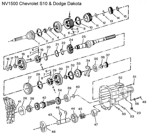 NV1500 S10 Diagram  Drawing  Chevrolet Transmission Repair Parts