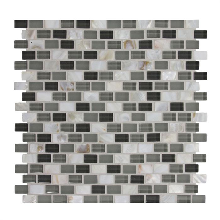 gbi glshell1mos lowes 0282575 glass shell brick subway mosaic tile gloss frost matte sample
