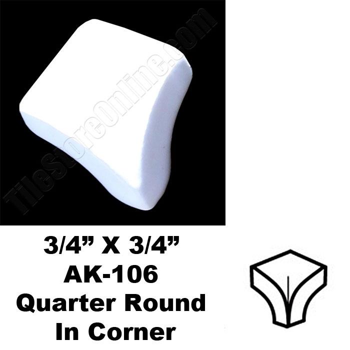 daltile 0100 white 3 4 x 3 4 quarter round in corner ak106 dal tile ceramic trim tile