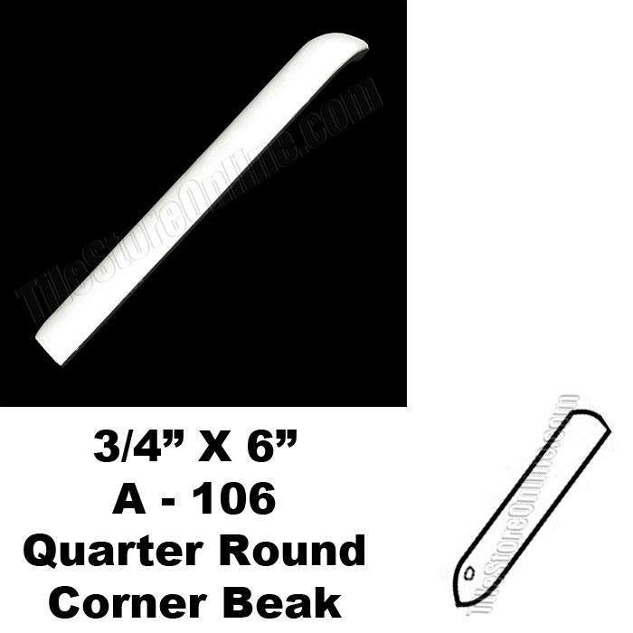 daltile 0400 mayan white 3 4x6 quarter round out corner beak ac106 dal tile ceramic trim tile