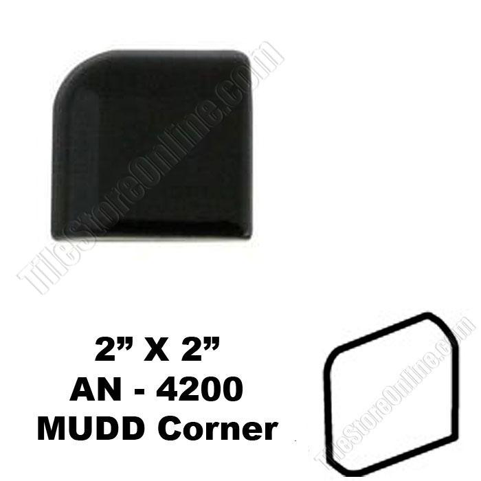 daltile k111 gloss black 2x2 mudd bullnose corner an 4200 dal tile ceramic trim tile
