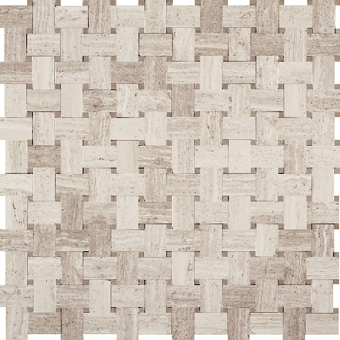 basketweave marble mosaic tile white oak wood silver beige basket weave with athens gray marble dot polished