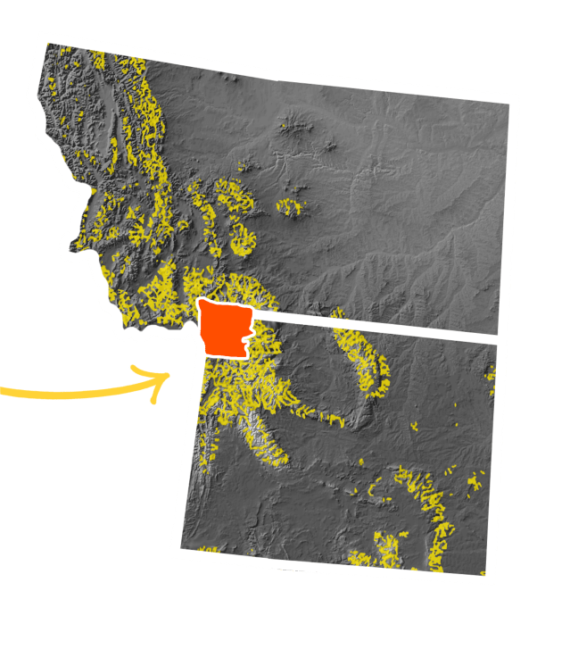 each and every highlighted portions from preceding graphic, zoomed into Montana and Wyoming, with a small section highlighted.