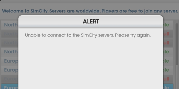 SimCity Server Failures