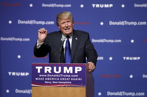 In this Aug. 19, 2015 file photo, Republican presidential candidate businessman Donald Trump speaks in Derry, N.H. Trump has until Sept. 30 to pledge to rule out a third-party run if he intends to appear on the South Carolina primary ballot.