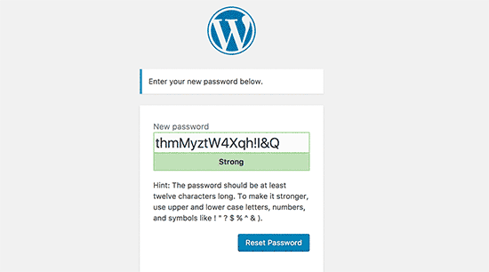 Masukkan kata sandi baru untuk akun WordPress Anda
