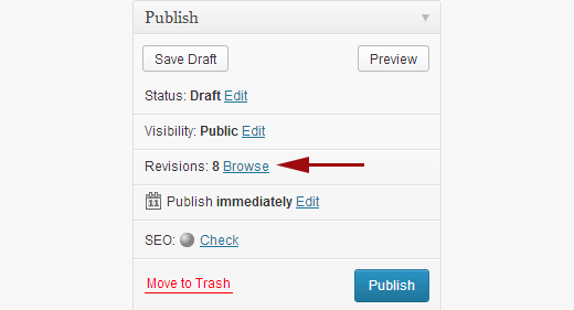 Revisions are displayed in publish meta box on WordPress post edit screen