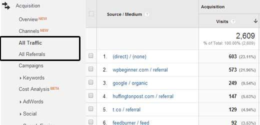 Google Analytics Trafic total