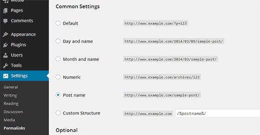 Thiết lập permalinks trong WordPress