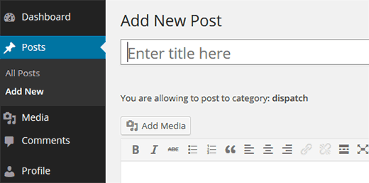 Author restricted to post into specific category only Restrict Authors to Specific Category in WordPress