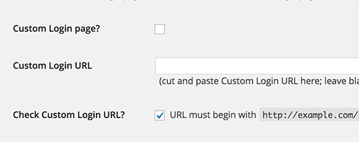 Custom login page settings