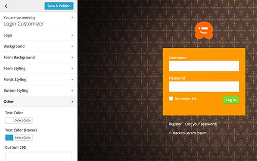 Customizing the WordPress login page