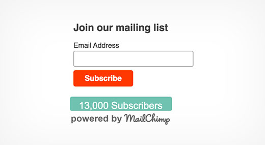 Preview of Mailchimp subscriber chiclet plugin