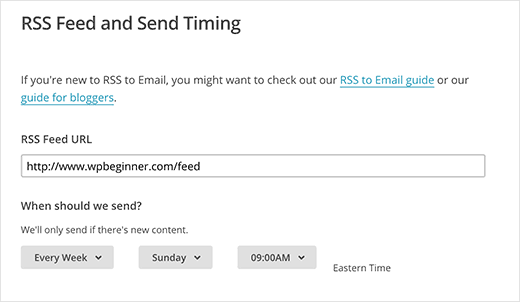 RSS to email settings