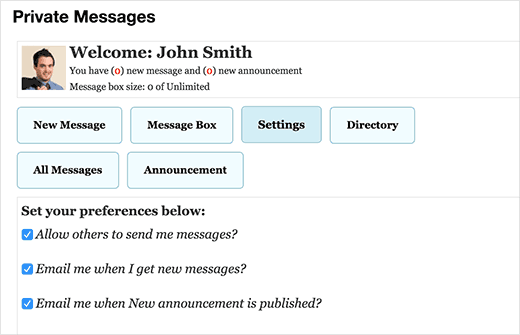 User settings for private messages in WordPress