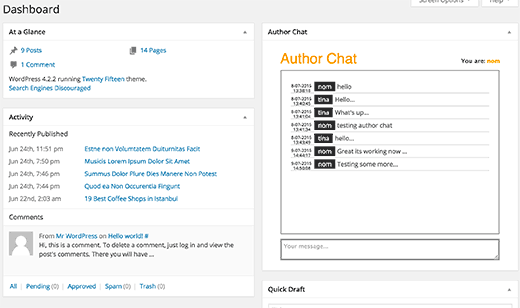 Author chat widget on WordPress dashboard