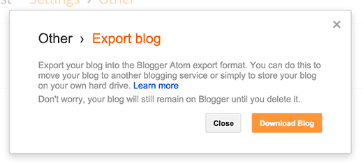 Download your Blogger blog's export file