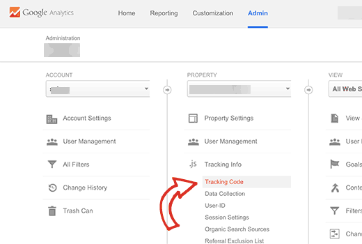 Finding your Google Analytics tracking ID