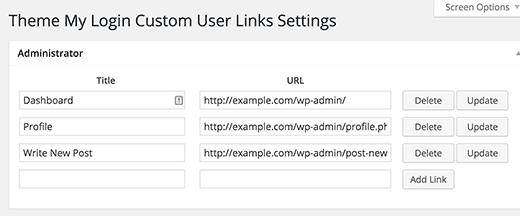 Adding custom links to Theme My Login widget