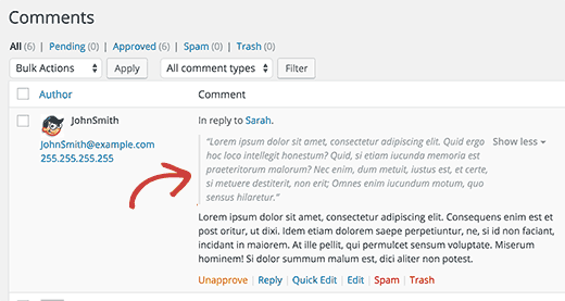 Parent comment displayed above the child comment on WordPress comment moderation screen