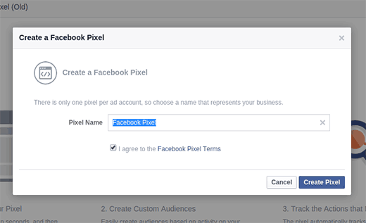 Enter a name for Facebook Pixel