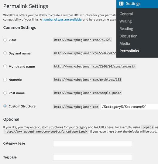 Permalink settings page in WordPress
