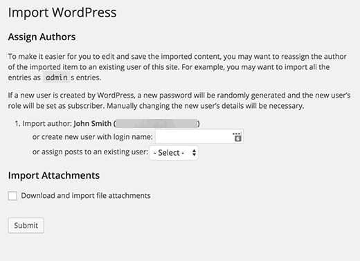 SquareSpace to WordPress import settings