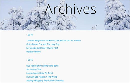 Collapsible yearly archives showing all posts in WordPress