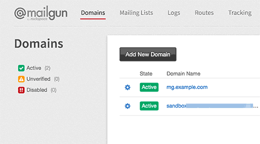 Mailgun active domains